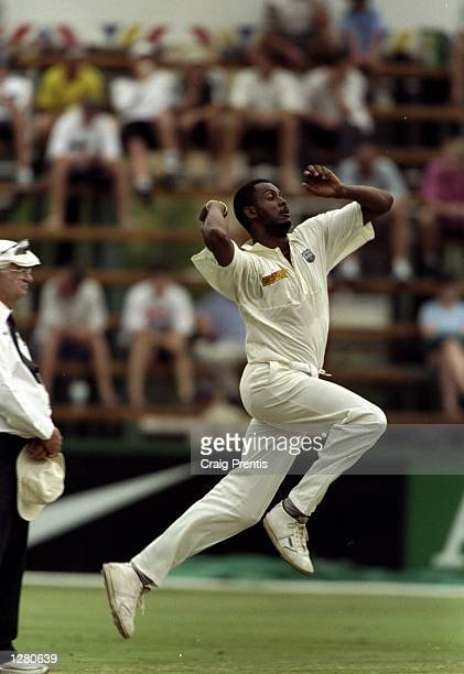 Courtney Walsh of the West Indies runs in to bowl during the First Test against South Africa at New Wanderers in Johannesburg, South Africa. Walsh...