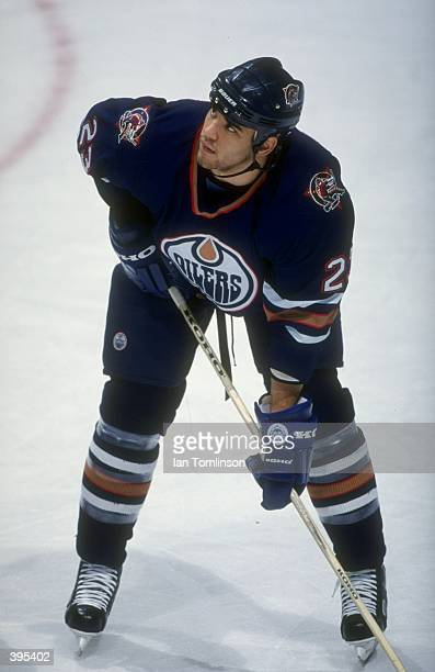 Defenseman Sean Brown of the Edmonton Oilers in action during the game against the Calgary Flames at the Canadian Airlines Saddledome in Calgary...