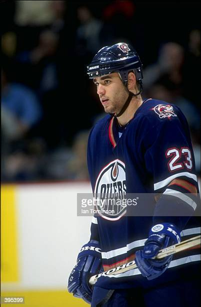 Defenseman Sean Brown of the Edmonton Oilers looks on during the game against the Calgary Flames at the Canadian Airlines Saddledome in Calgary...
