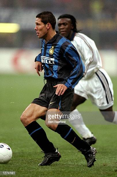 Diego Simeone of Inter Milan in action during the Champions League match against Real Madrid in Milan Italy Inter Milan won the game 31 Mandatory...
