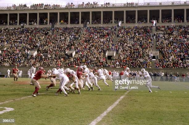 General view of the game between the Harvard Crimson and the Yale Bulldogs at the Harvard Stadium in Cambridge Massachusetts The Bulldogs defeated...