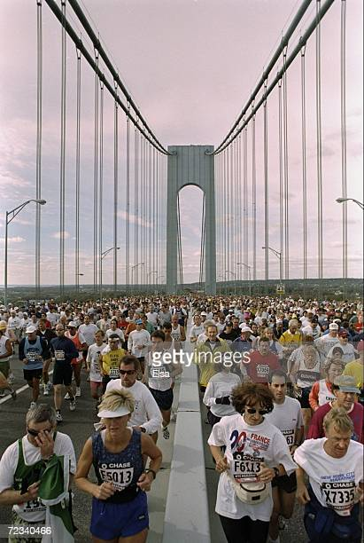 General view of the start of the New York City Marathon on the VerrazanoNarrows Bridge in New York City New York Mandatory Credit Elsa Hasch /Allsport