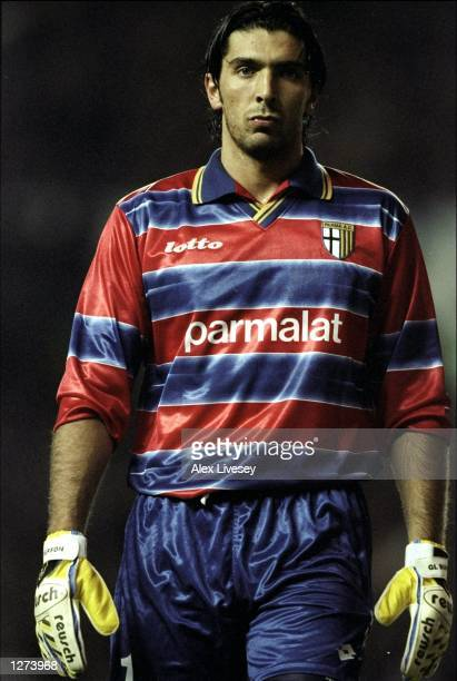Gianluigi Buffon in goal for Parma against Rangers in the UEFA Cup third round first leg match at Ibrox Park in Glasgow Scotland The game ended 11...