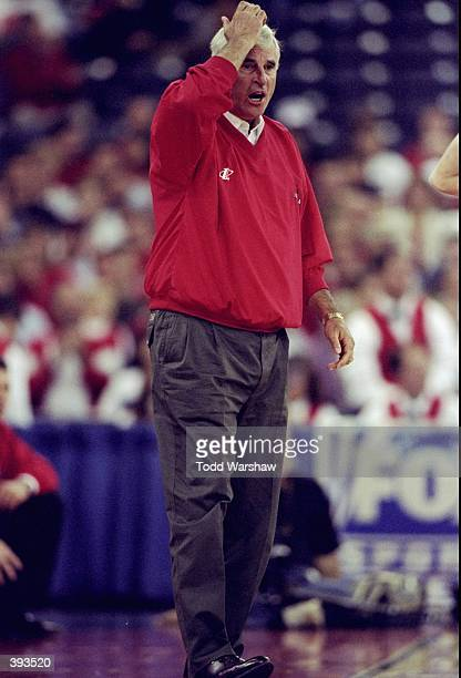 Head coach Bobby Knight of the Indiana Hoosiers yells from the bench during the NABC Classic against the South Carolina Trojans at the RCA Dome in...
