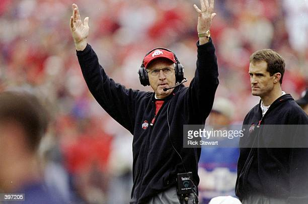 Head coach John Cooper of the Ohio State Buckeyes looks on during the game against the Michigan Wolverines at the Ohio Stadium in Columbus Ohio The...