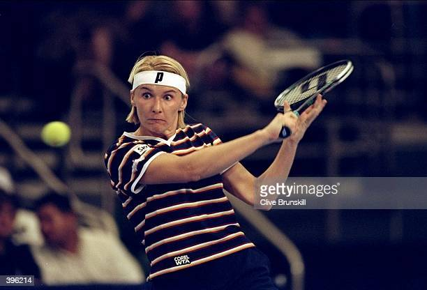 Jana Novotna of the Czech Republic in action during the Chase Championships in New York City, New York. Mandatory Credit: Clive Brunskill /Allsport