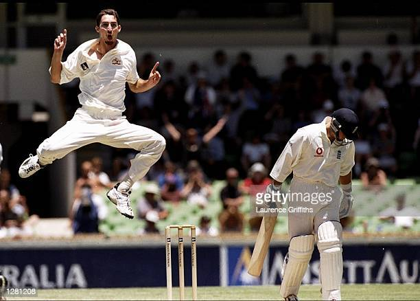 Jason Gillespie of Australia takes the wicket of Darren Gough of England in the Second Test at the Waca in Perth Australia Australia won by seven...