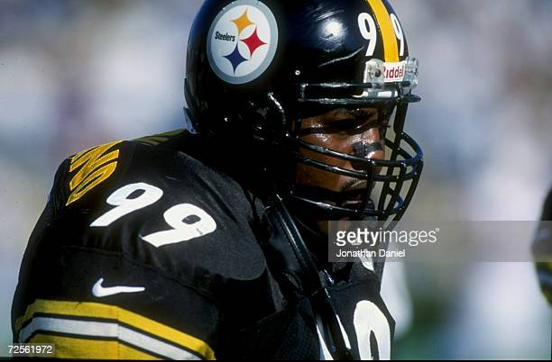 Linebacker Levon Kirkland of the Pittsburgh Steelers looks on during the game against the Tennessee Oilers at the Vanderbilt Stadium in Nashville...