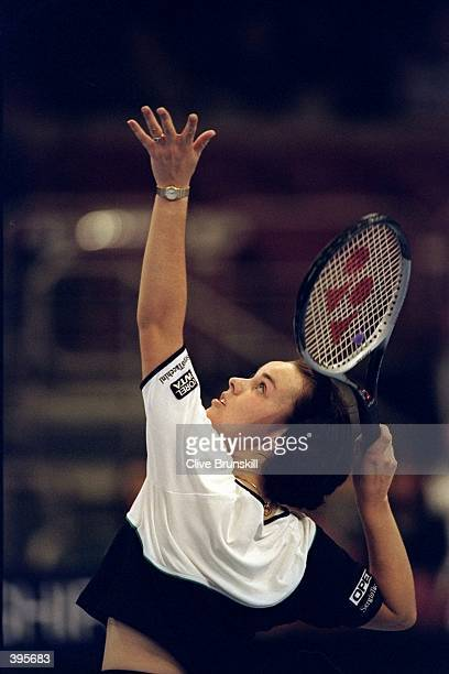 Martina Hingis of Switzerland in action during the Chase Championships in New York City New York Mandatory Credit Clive Brunskill /Allsport