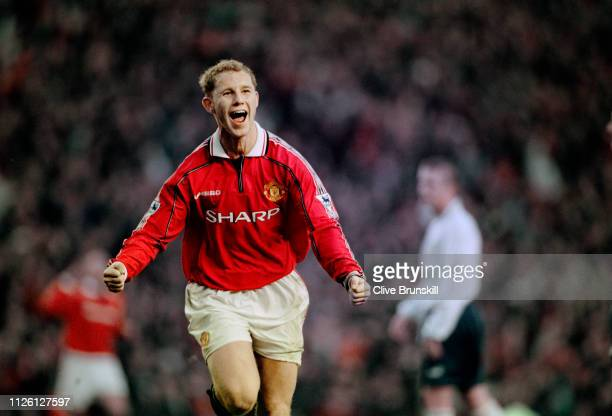 Nicky Butt of Manchester United celebrates the winner in the FA Carling Premiership match against Leeds United at Old Trafford in Manchester England...