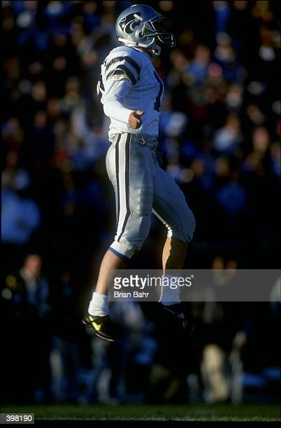 Placekicker Martin Gramatica of the Kansas State Wildcats in action during the game against the Missouri Tigers at Faurot Field in Columbia Missouri...