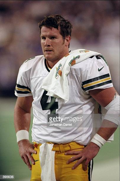 Quarterback Brett Favre of the Green Bay Packers looks on during the game against the Minnesota Vikings at the HHH Metrodome in Minneapolis,...