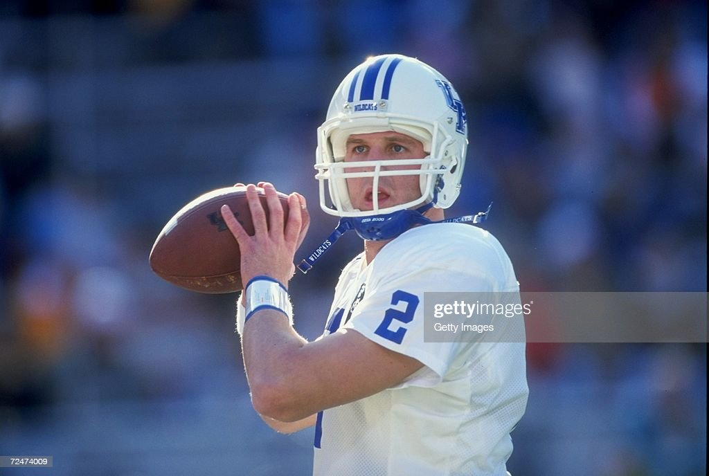 Quarterback Tim Couch #2 of the Kentucky Wildcats in action against the Tennessee Volunteers at Neyland Stadium in Knoxville, Tennessee. Tennessee defeated Kentucky 59-21. Mandatory Credit: Allsport/Allsport