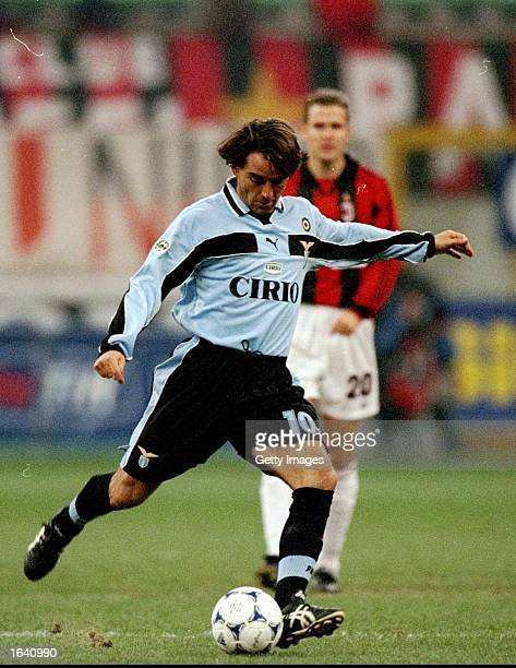 Roberto Mancini of Lazio in action during the Italian Serie A match against Milan in Milan Italy Milan won the game 10 Mandatory Credit Allsport UK...