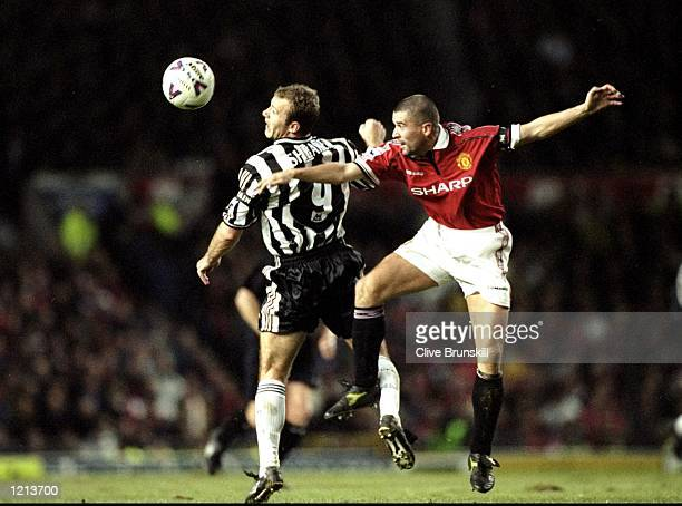 Roy Keane of Manchester United in action against Alan Shearer of Newcastle United during the FA Carling Premiership match against Newcastle United...
