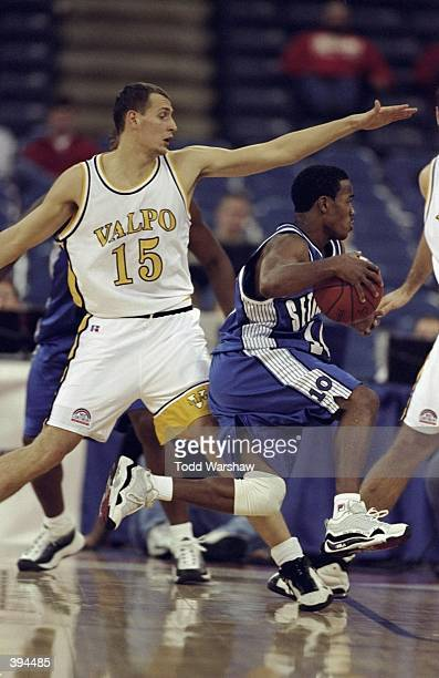 Shaheen Holloway of the Seton Hall Pirates carries the ball during the NABC Classic against the Valparaiso Crusaders at the RCA Dome in Indianapolis...