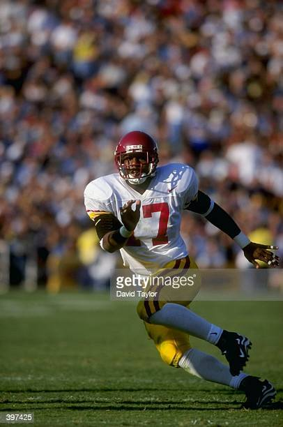 Tailback Chad Morton of the USC Trojans in action during the game against the UCLA Bruins at the Rose Bowl in Pasadena California The Bruins defeated...
