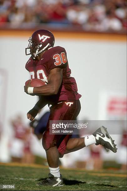 Tailback Shyrone Stith of the Virginia Tech Hokies in action during the game against the Virginia Cavaliers at the Lane Stadium in Blacksburg...