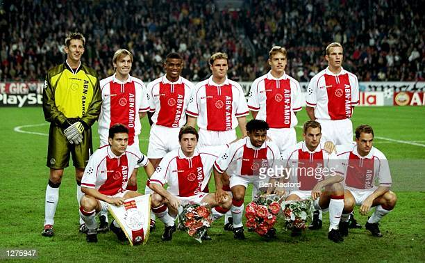 The Ajax team have a group shot before the Champions League match against Olympiakos at The Amsterdam Arena in Amsterdam Holland Ajax won the game 20...