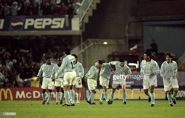 The Celta Vigo team celebrate during the UEFA Cup Round 3 Leg 1 match against Liverpool in Vigo Spain Celta Vigo won the game 31 Mandatory Credit...