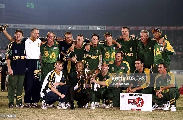 The South African team celebrate winning the Wills International Cup at the Bangabandhu National Stadium in Dhaka in Bangladesh. \ Mandatory Credit:...