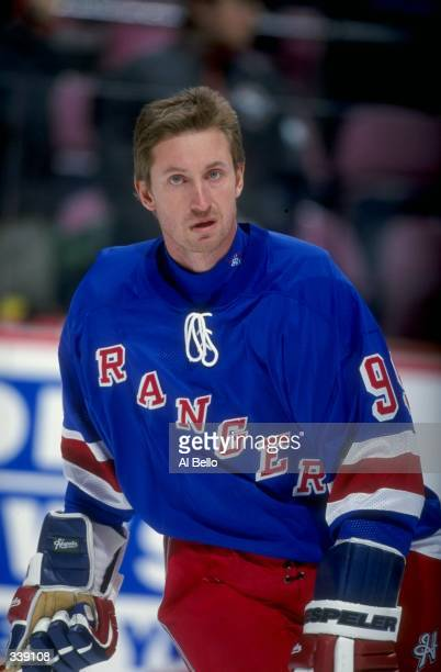 Wayne Gretzky of the New York Rangers poses for a picture without his helmet on before the game against the New Jersey Devils at the Continental...