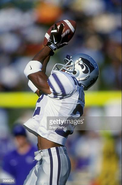 Wide receiver Aaron Bishop of the Kansas State Wildcats in action during the game against the Missouri Tigers at Faurot Field in Columbia Missouri...