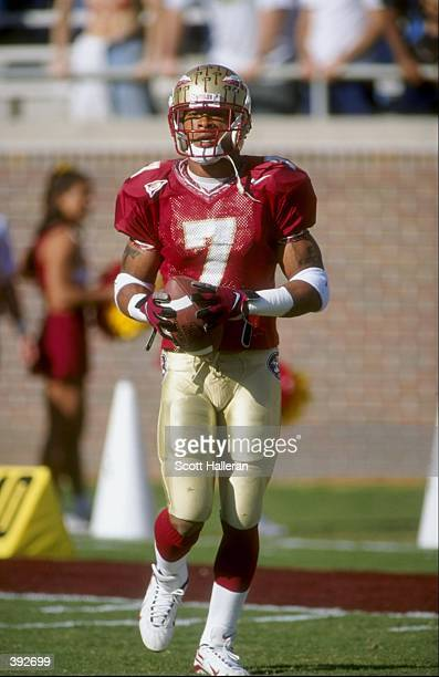Wide receiver Laveranues Coles of the Florida State Seminoles in action during a game against the Virginia Cavaliers at the Doak Campbell Stadium in...