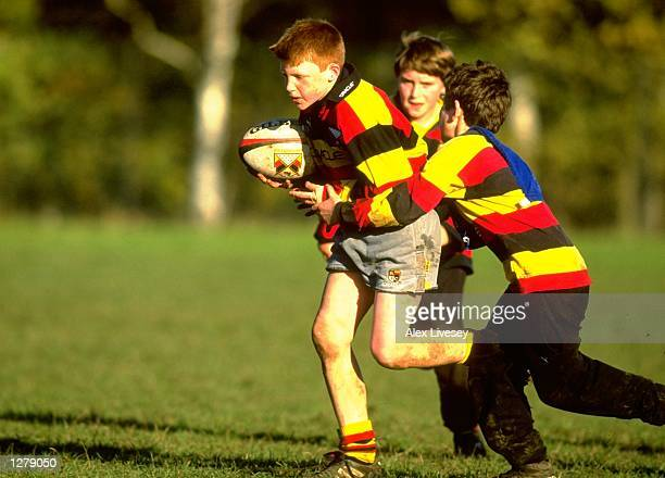 Young rugby players during a Mini Rugby Festival at Old Deer and Rosslyn Park in London England Mandatory Credit Alex Livesey /Allsport