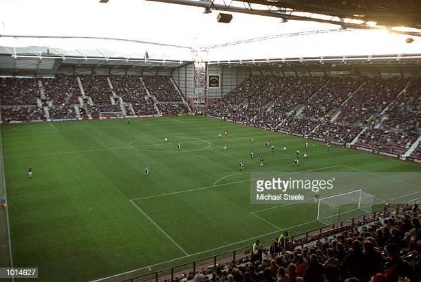 A general view of Tynecastle during the Scottish Premier Division match between Hearts and Motherwell in Edinburgh Scotland The game finished in a 11...