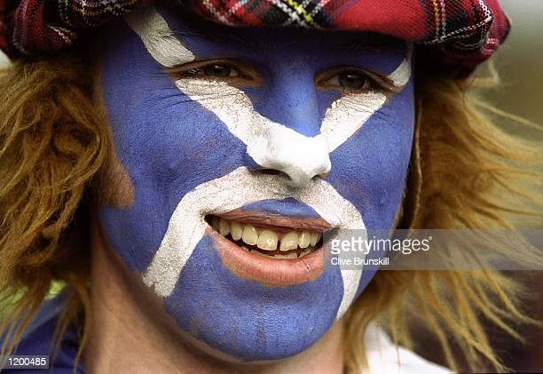 A Scotland fan during the Euro 2000 playoff first leg match against England at Hampden Park in Glasgow Scotland England won 20 Mandatory Credit Clive...