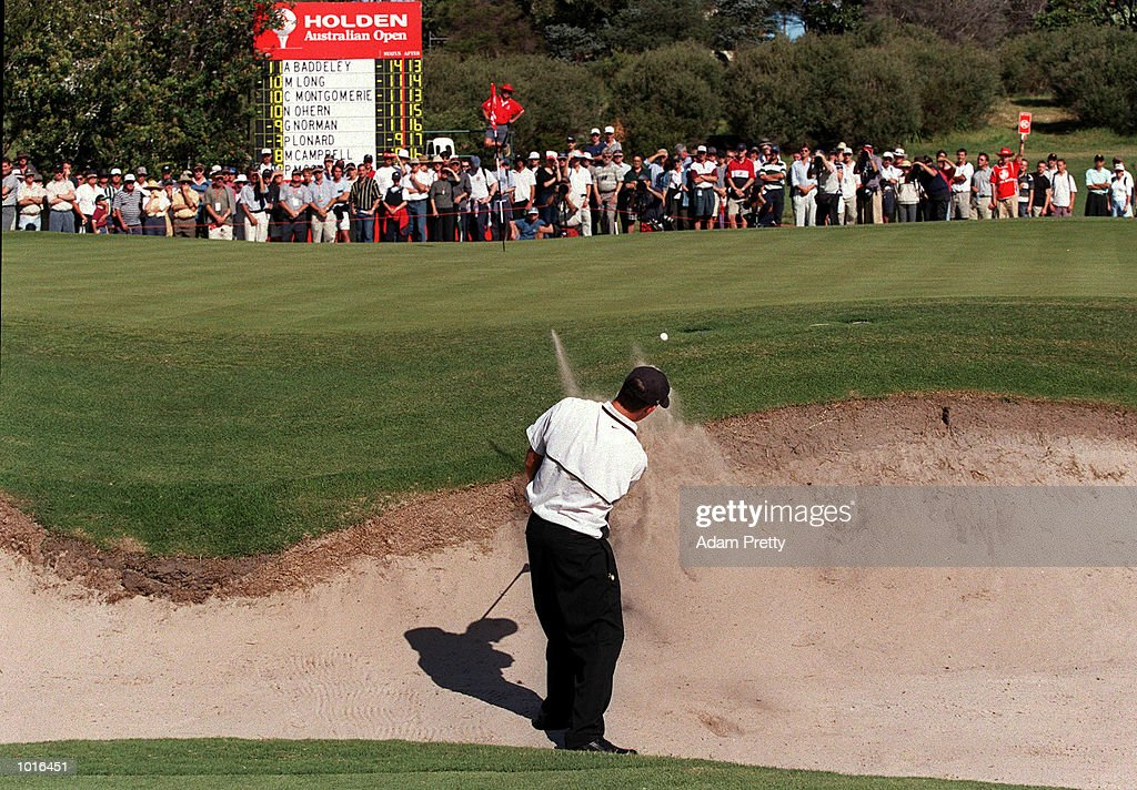 Aaron Baddeley of Australia chips out of the bunker on the 14th during the final round of The Holden Australian Open Golf at The Royal Sydney Golf Course, Sydney, Australia. Aaron Baddeley of Australia won with a score of 14 under. Mandatory Credit: Adam Pretty/ALLSPORT