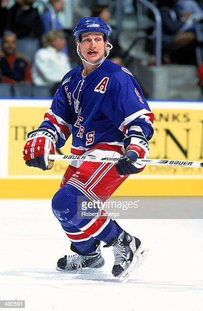 Adam Graves of the New York Rangers skates on the ice during a game against the Toronto Maple Leafs at the Air Canada Centre in Toronto Canada The...