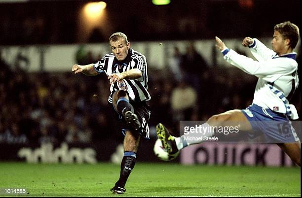 Alan Shearer of Newcastle United shoots for goal during the UEFA Cup Round 2, Leg 2 match against FC Zurich from St James's Park, Newcastle, England....