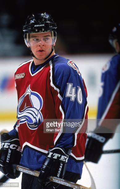 Alex Tanguay of the Colorado Avalanche looks on from the ice during the game against the Ottowa Senators at the Pepsi Center in Denver Colorado The...