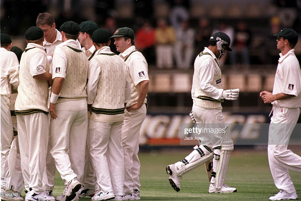 Australain players celebrate the wicket of Pakistan batsman Ijaz Ahmed for six runs. Ijaz was caught by Michael Slater off the bowling of Glenn McGrath, on the first day of the of the second test match between Australia and Pakistan at Bellerive Oval,Hobart, Tasmania. Mandatory Credit: Jack Atley/ALLSPORT