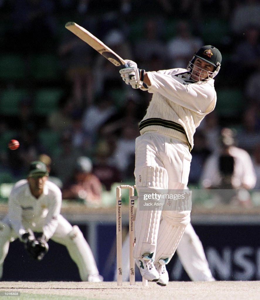Australian batsman Justin Langer pulls one away to the boundry, during day one of the third test played between Australia and Pakistan at the WACA ground in Perth, Western Australia, Australia. Pakistan were all out today for 155 runs. Australia finished the day on 171 runs for four wickets Mandatory Credit: Jack Atley/ALLSPORT