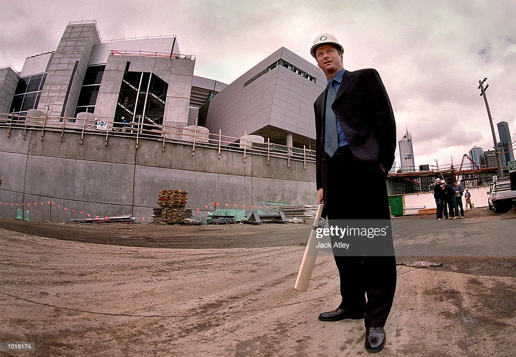 Australian cricket team captain Steve Waugh stands by the new Docklands Colonial Sports Stadium in Melbourne, Australia after a press conference to announce that Australia will play South Africa in a one day series at the new stadium next year. The matches will be played under the enclosed roof of the stadium which is due for completion in February 2000. Mandatory Credit: Jack Atley/ALLSPORT
