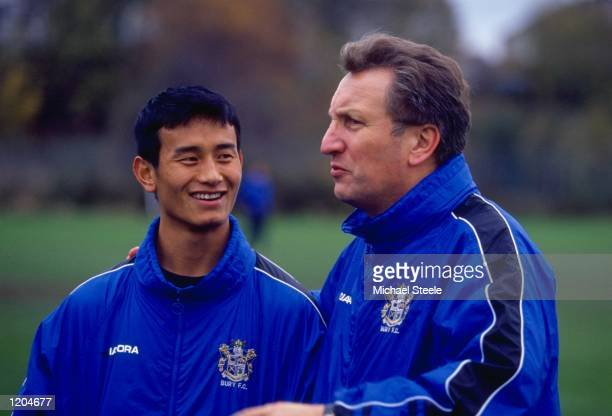 Baichung Bhutia of Bury FC and India with his manager Neil Warnock Mandatory Credit Michael Steele /Allsport