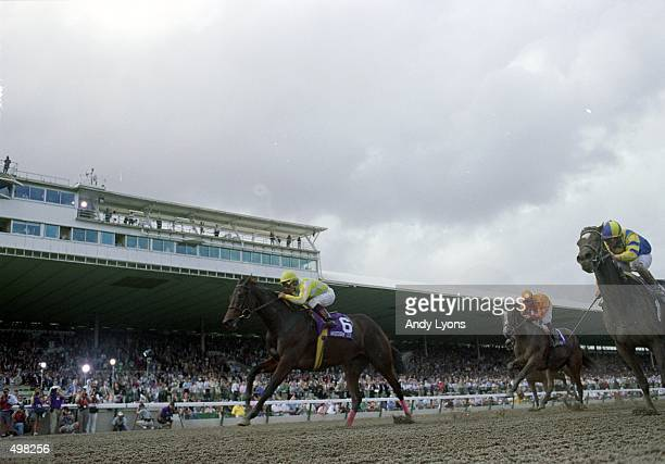 Beautiful Pleasure and Jockey Jorge Chavez race for the finish line during the Breeders Cup Distaff at the Gulfstream Park in Hallandale Beach Florida