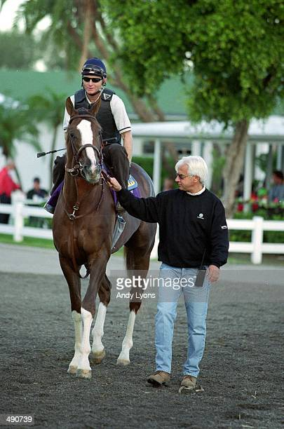 Bob Baffert walks General Challange in the paddock area before the Breeders Cup at Gulf Stream Park in Hallandale Beach Florida Mandatory Credit Andy...
