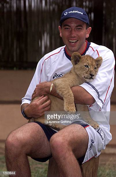 Chris Silverwood of England plays with Lion cubs at the Lion Park in Johannesburg South Africa Mandatory Credit Laurence Griffiths/ALLSPORT