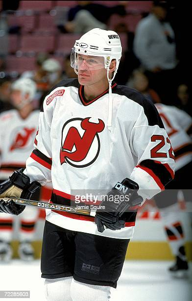 Claude Lemieux of the New Jersey Devils skates on the ice during the game against the Philadelphia Flyers at the Continental Airlines Arena in East...