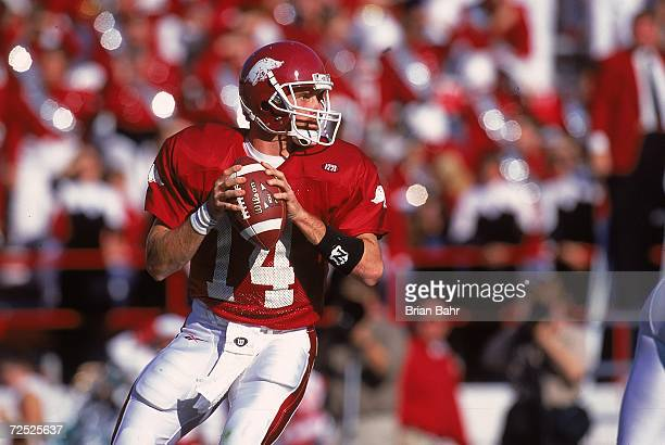 Clint Stoerner of the Arkansas Razorbacks moves to pass the ball during the game against the Tennessee Volunteers in Fayetteville, Arkansas. The...