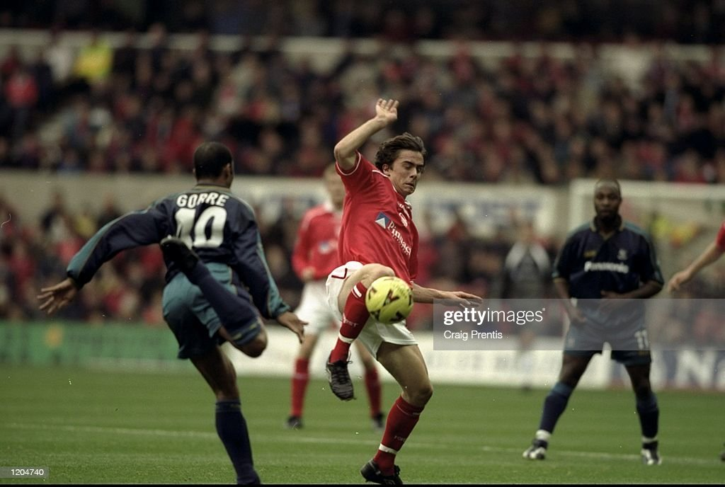 David Prutton of Nottingham Forest tackles Dean Gorre of Huddersfield during the Nationwide First Division match at the City Ground in Nottingham, England. The game finished in a 3-1 away win for Huddersfield. \ Mandatory Credit: Craig Prentis /Allsport
