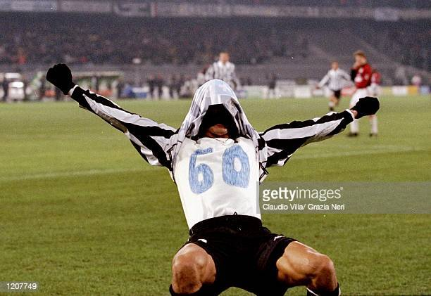 Filippo Inzaghi celebrates his goal for Juventus against AC Milan during the Italian Serie match at the Stadio Delle Alpi in Turin Italy Mandatory...