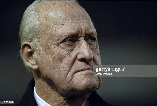 Former FIFA President Joao Havelange watched the action during the International Friendly between Spain and Brazil played at the Estadio Balaidos in...