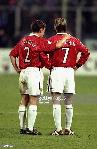 Gary Neville and David Beckham of Manchester United during the UEFA Champions League group B match against Fiorentina at the Artemio Franchi Stadium...