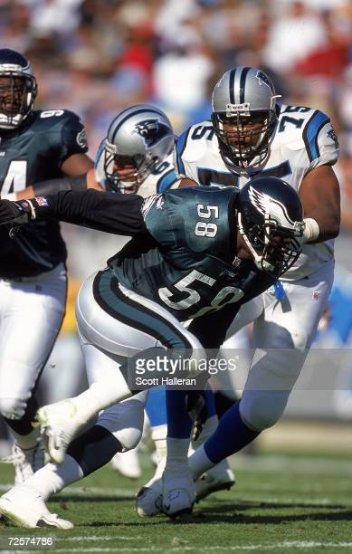 Ike Reese of the Philadelphia Eagles moves on the field during a game against the Carolina Panthers at the Ericcson Stadium in Charlotte, North...