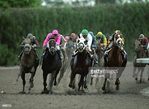 Jockey Pat Day races in the lead down the finish stretch ontop of Cat Thief to win the Breeders Cup Classic during the Breeders Cup at Gulf Stream...